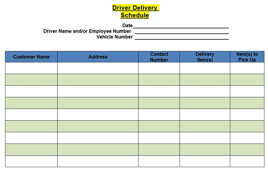 Free Delivery Schedule Templates [Excel, Word, PDF]