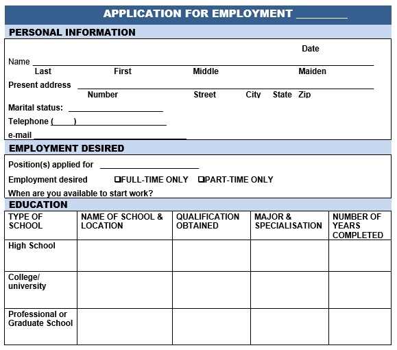 Free Employment Application Templates [Word, Excel]