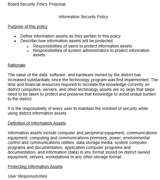 board security policy proposal template