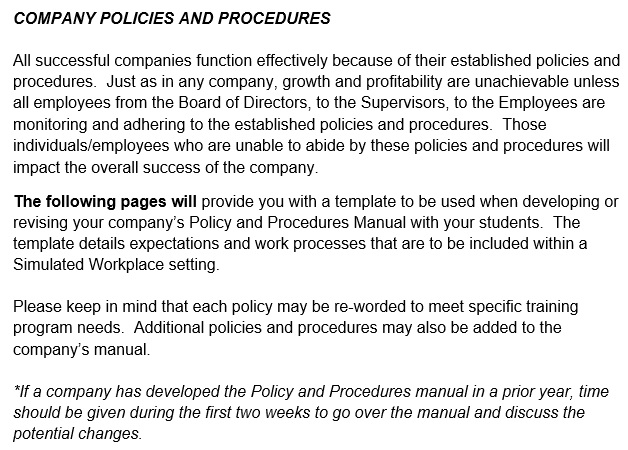 company policies and procedures template