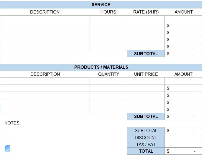 Printable Auto Repair Invoice Templates (Excel, Word)