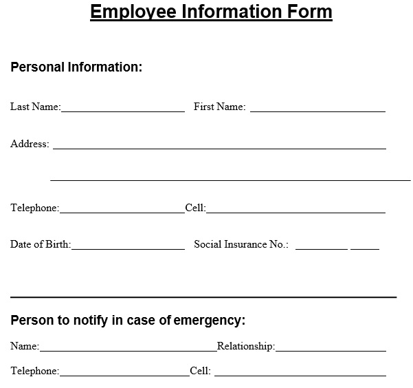 Free Employee Information Form Templates [Excel, Word, PDF]