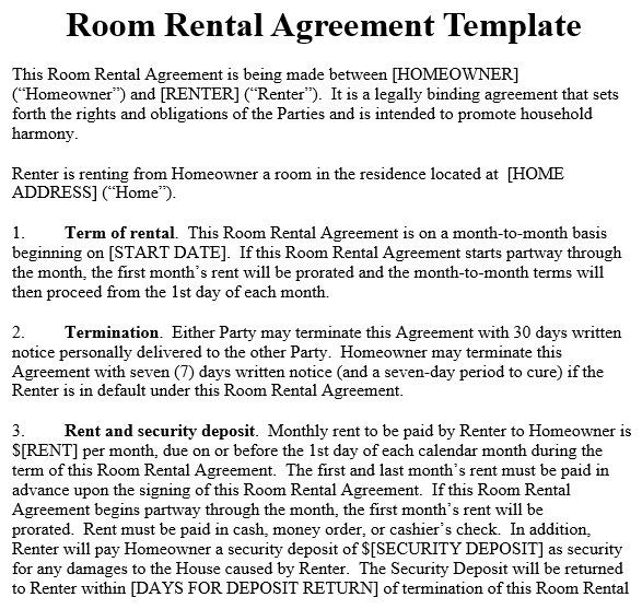 Room Rental Agreement Templates & Forms [Word, PDF]