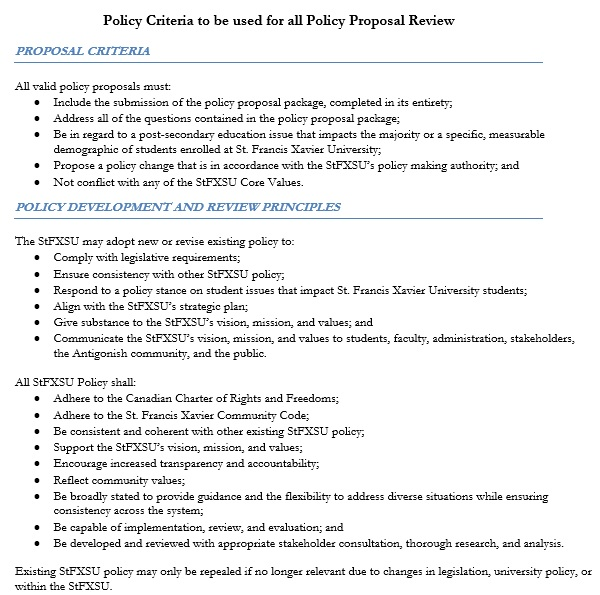 policy proposal review template