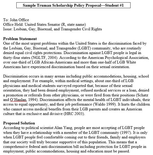 sample truman scholarship policy proposal