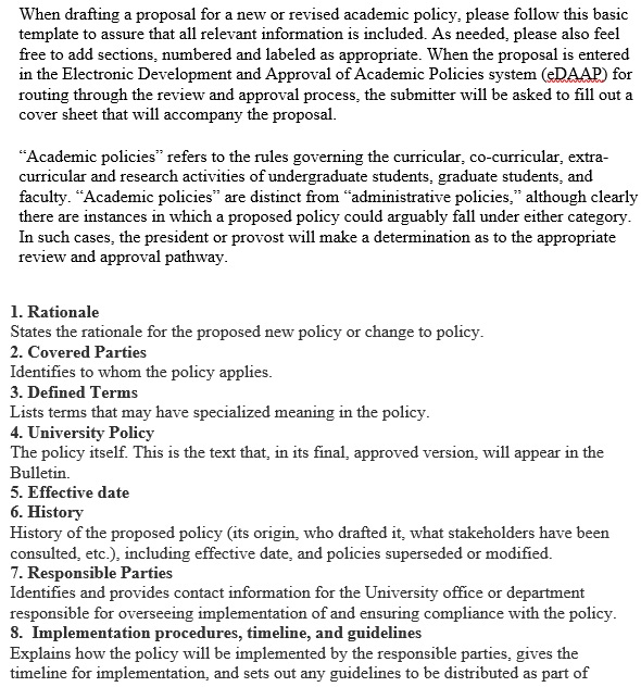 template for drafting academic policy proposals