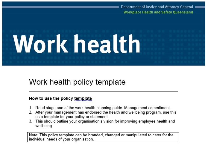 workplace health and safety policy sample