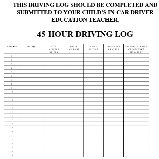 45 hour driving log template