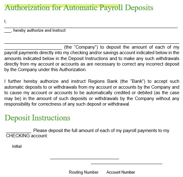 authorization for automatic payroll deposits