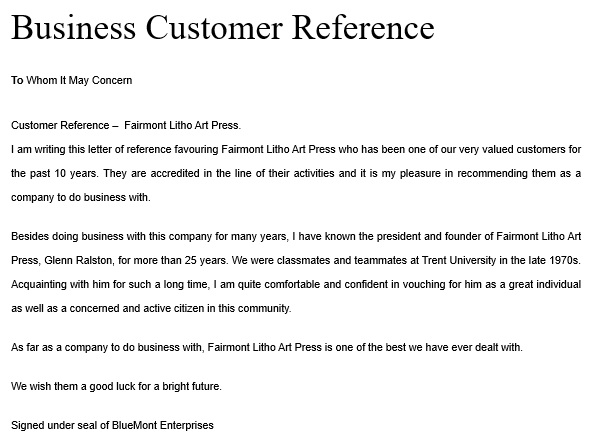 business customer reference letter