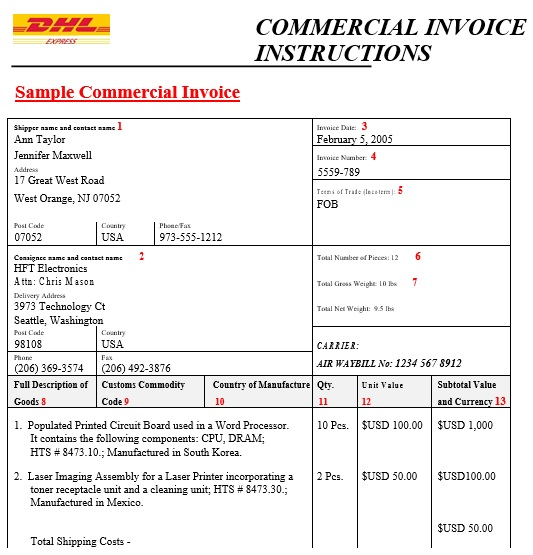 commercial invoice sample template