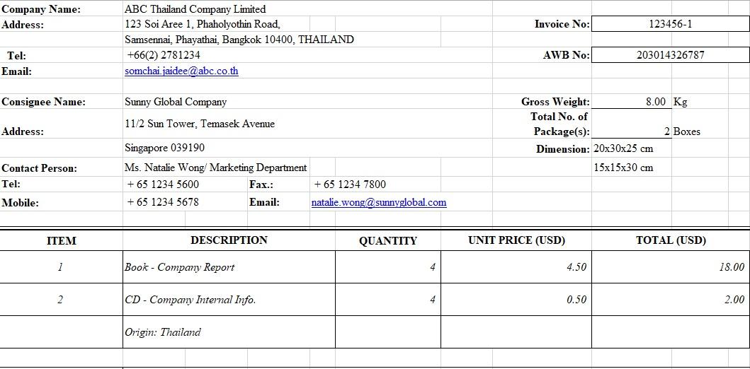 commercial invoice spreadsheet