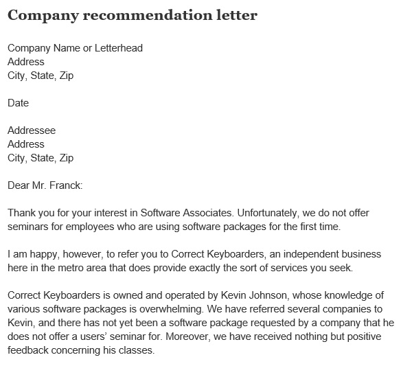 company recommendation letter