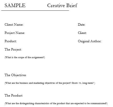 creative brief sample