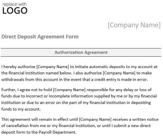 direct deposit agreement form