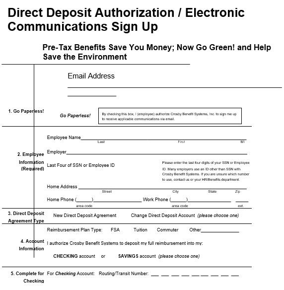 direct deposit authorization electronic communications sign up