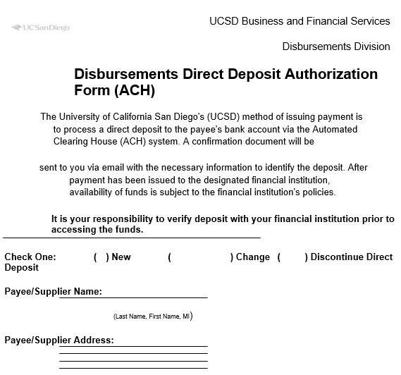 disbursement direct deposit authorization form