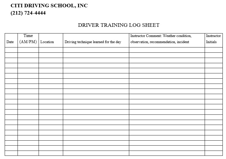 driver training log sheet