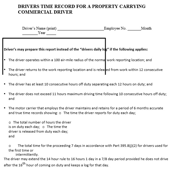 drivers time record for a property carrying commercial driver