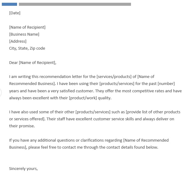 free business reference letter 10