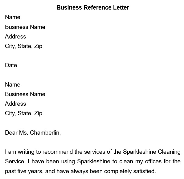 free business reference letter 16