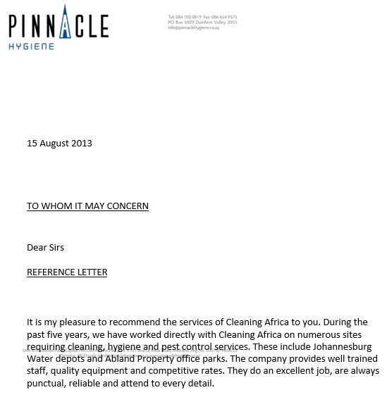 free business reference letter 8