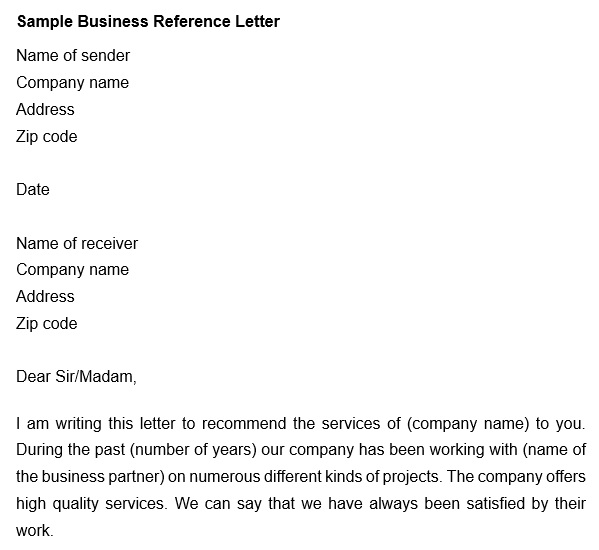 free business reference letter 9