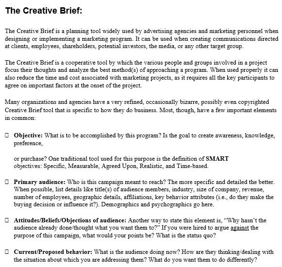 free creative brief template 1