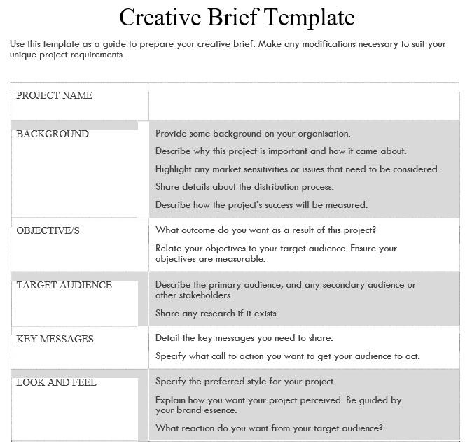 free creative brief template 2
