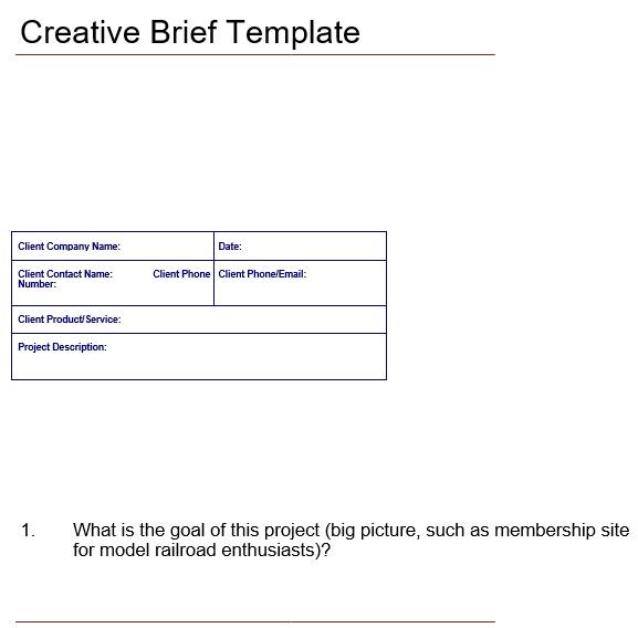 free creative brief template 5
