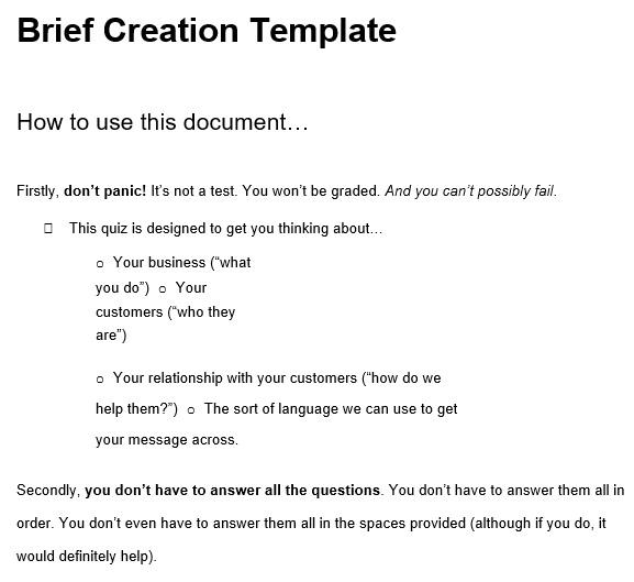 free creative brief template 8