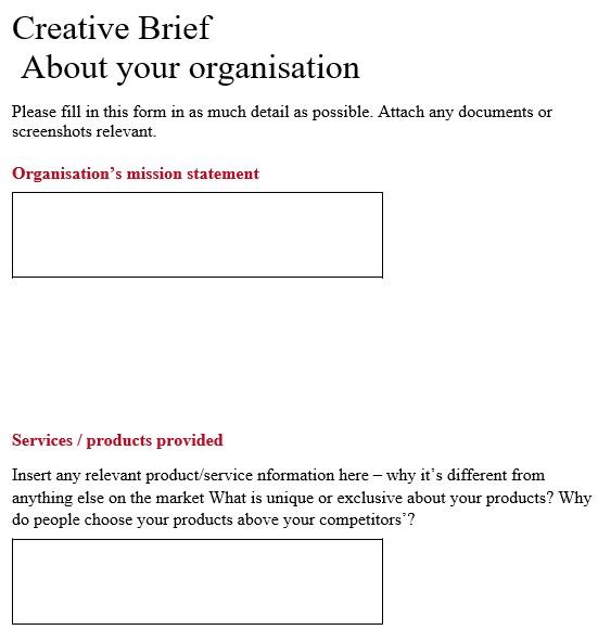 free creative brief template