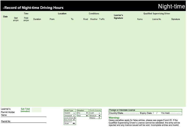 free driver log book template 4