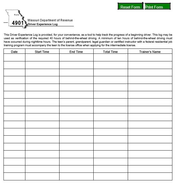 free driver log book template 8