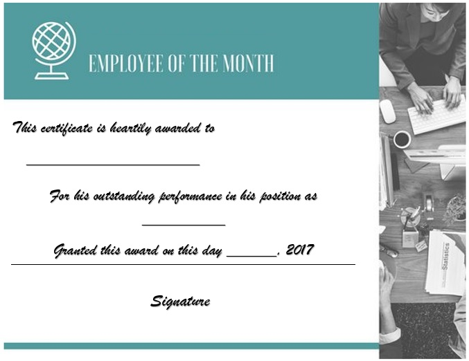 free employee of the month certificate template 11