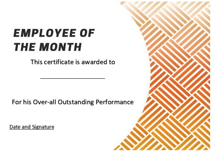 free employee of the month certificate template 12