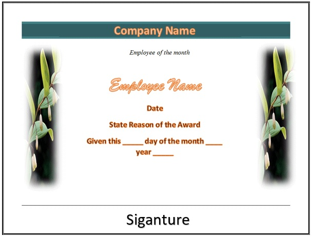 free employee of the month certificate template 13