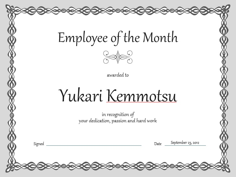 free employee of the month certificate template 2