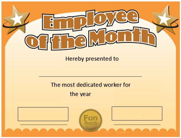 free employee of the month certificate template 20