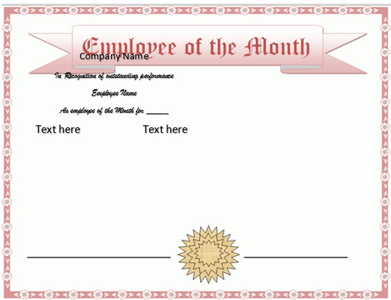 free employee of the month certificate template 21