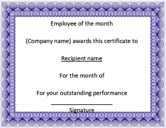 free employee of the month certificate template 3