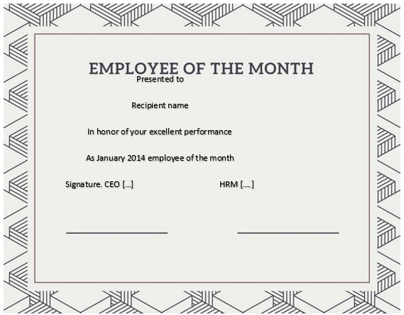 free employee of the month certificate template 4