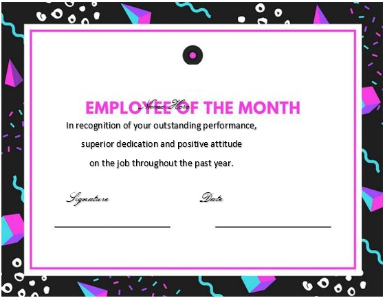 free employee of the month certificate template 6