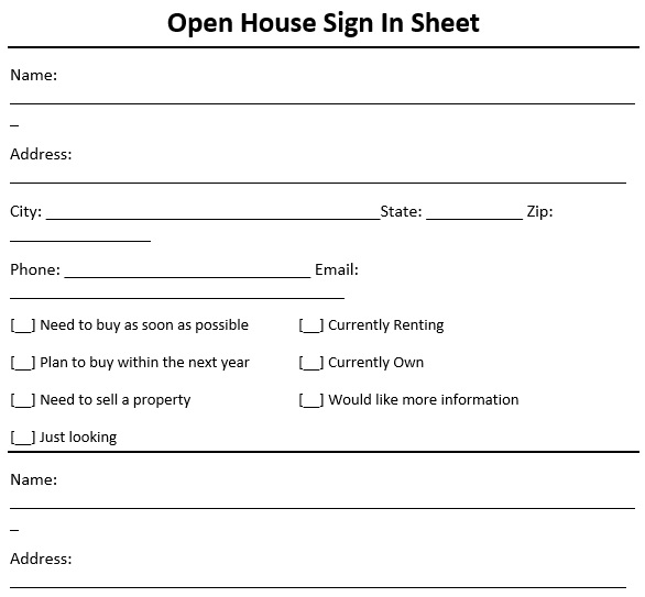 free open house sign in sheet 11