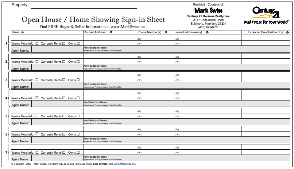 free open house sign in sheet 4