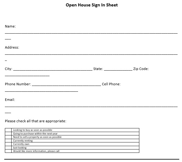 free open house sign in sheet 5