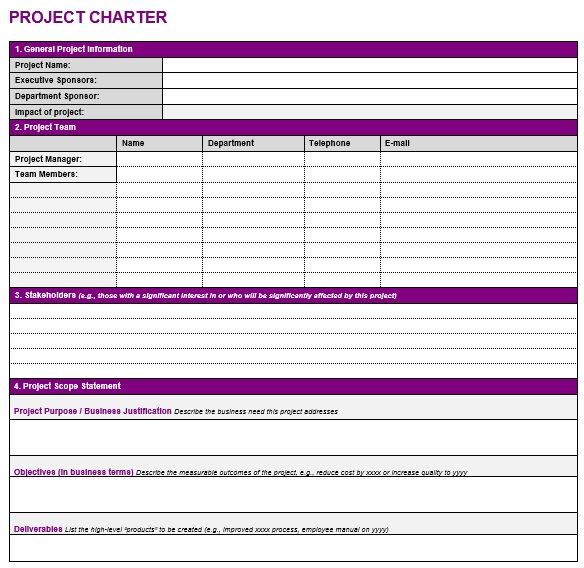 free project charter template 16