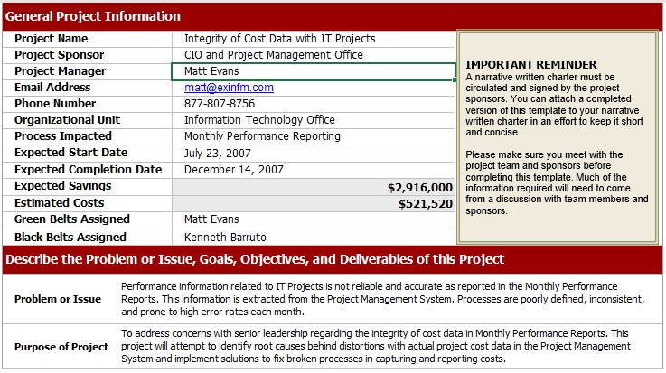 free project charter template excel