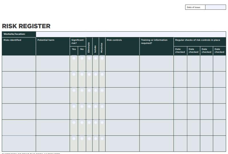 free risk register template 1