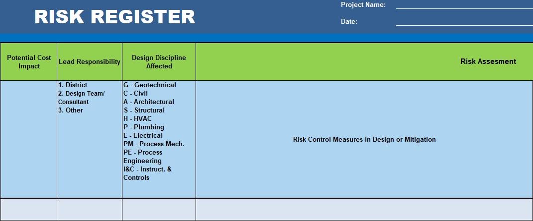 free risk register template 2
